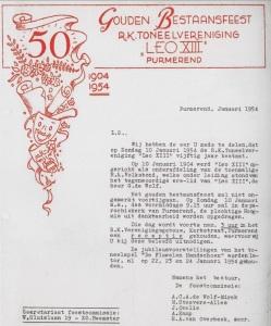 1954, Uitnodiging gouden bestaan
